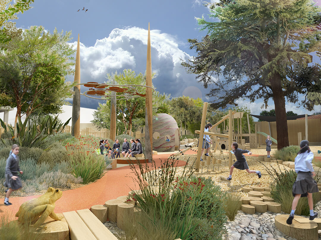 St Catherines Junior School Redevelopment-Render 1-Playspace